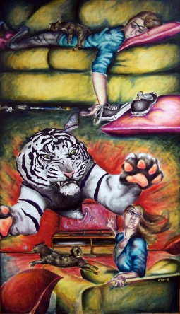 Don't Forget to Feed the Cats, 5' x 3', acrylic on canvas - $200